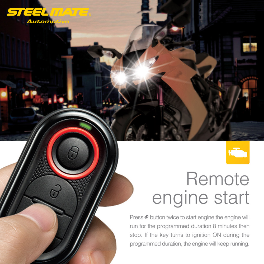 Original Steelmate 986e 1 Way Motorcycle Alarm Moto Remote Engine Start Alarm Moto Protection With Mini Transmitter For Bultaco #6