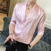 Fashion 2018 Japanese Style Shirts Mens Silk Shirts Black V Neck Satin Dress Pink Men Luxury