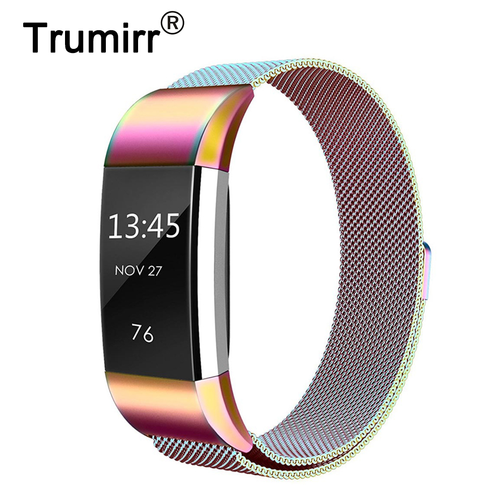 все цены на Milanese Stainless Steel Watchband for Fitbit Charge 2 Smart Watch Band Magnetic Buckle Strap Wrist Belt Colorful Bracelet