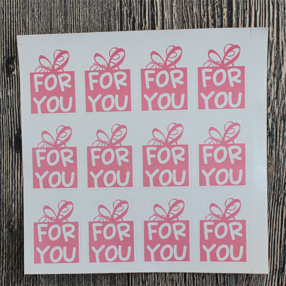 60pcs Pink Color For You Stickers DIY Hand Made For Gift Cake Baking Sealing Sticker