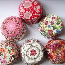 Прямая 50x розовый/синий цветок/зеленый цветок Свадебный бумажный капкейк лайнер Маффин чашка торт форма для выпечки Чехол Держатель обертка