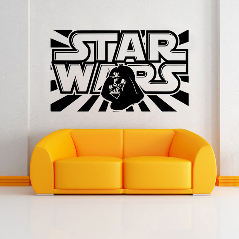 New Star Wars Wall Decal with Darth Vader Vinyl Sticker Boys Bedroom ...