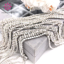 5 yards 2mm Sliver base Clear white glass crystal rhinestones pearls mixed with claw sew on cup chain diy clothing accessories