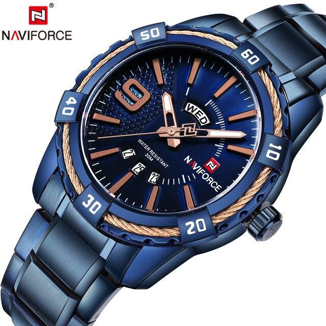 d5ec0f23a6c NAVIFORCE Moda Casual À Prova D  Água de Esportes de Aço Inoxidável Relógio  de Quartzo Homens Militar Relógios Homem do Relógio Relogio ...