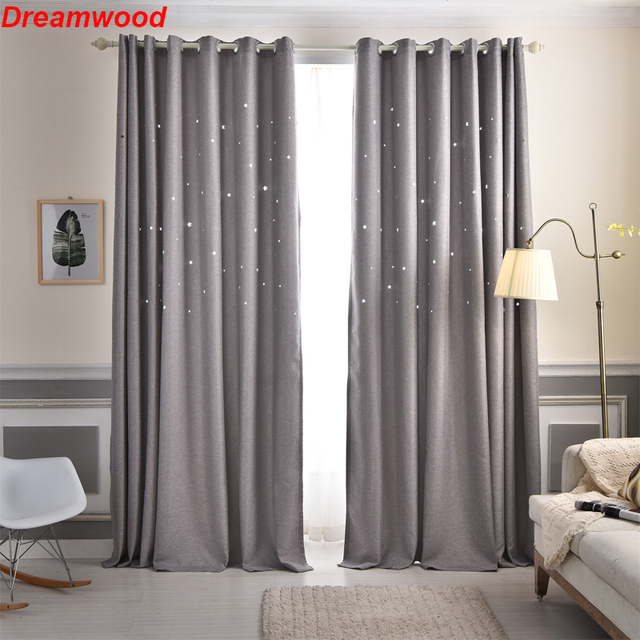 New Hollowed Stars Children Dream Curtains 100 Polyester Shade Living Room Curtain Green Blue