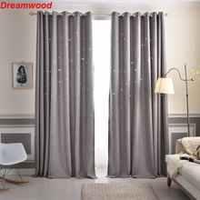 Stars children dream curtains 100% polyester blackout living room curtain Green/Blue/Gray/Cream available