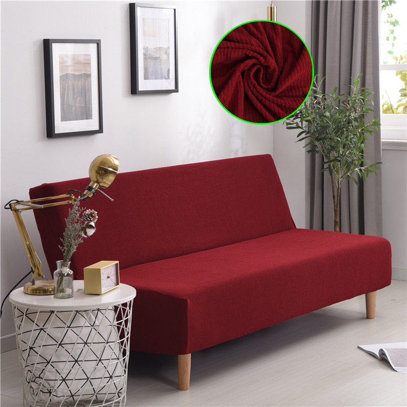 Corduroy Sofa Bed Cover thick Stretch Couch Cover Slipcover For Without Armrest Folding Futon Sofa bed Convertible Couch Sleeper image