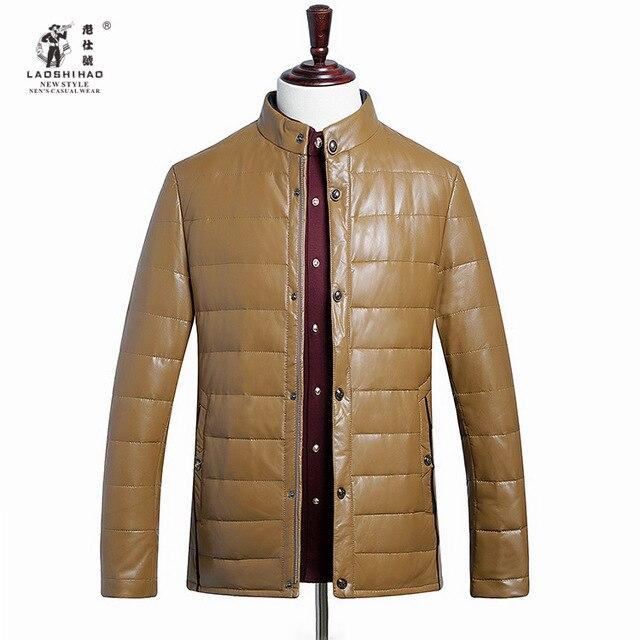 2015 New Winter Men's Leather Jacket Haining Male Sheep Leather Leather Collar Jacket Men  Brand-clothing Erkek Deri Ceket