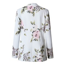 2019 Women Retro Floral Print White Jacket Ladies Casual Coat Outerwear Clothes Female Blazer