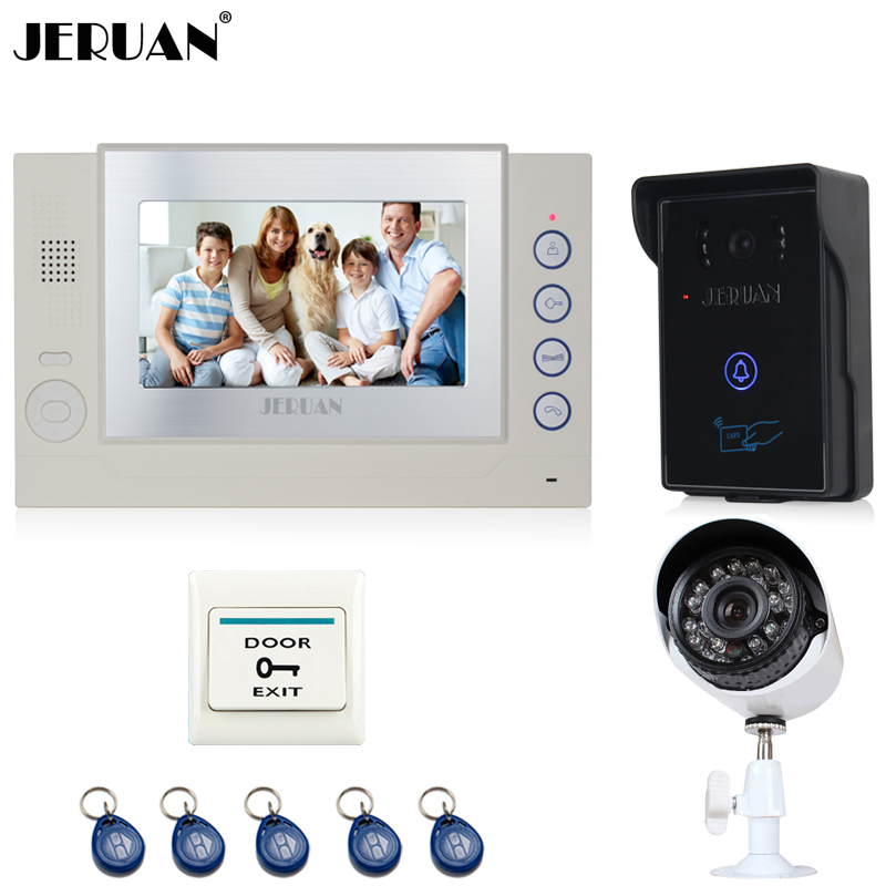 JERUAN 7 TFT Video Door Phone Record intercom System kit RFID Access IR Night vision Camera + 700TVL Analog Camera 8GB SD Card jeruan three 7 monitor color video door phone intercom 700tvl rfid access ir night vision camera electric mortise lock 8gb card