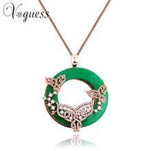 c4e8762f9b6d VOGUESS auténtico cristal mariposa grande colgante collar traje verde  collares largos suéter cadena joyería para las mujeres