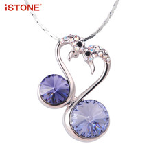 Jewelry Accessories - Fine Jewelry - ISTONE Natural Gemstone Pendant 925 Sterling Silver Two Swans Shape Purple Crystal Pendant Necklaces Fine Jewelry Gift For Woman