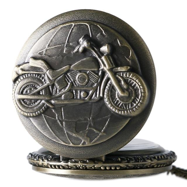 Antique Bronze Motorcycle Motorbike MOTO Pocket Watch Necklace Pendant Men Gift P79
