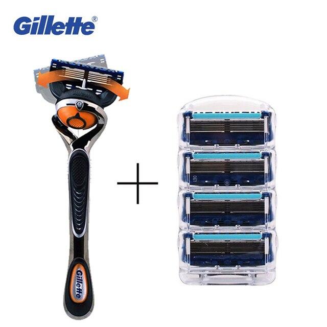 Genuino flexball gillette fusion proglide afeitar las hojas de afeitar para los hombres 1 titular + 5 hojas de marcas de máquinas de afeitar maquinillas de afeitar de seguridad