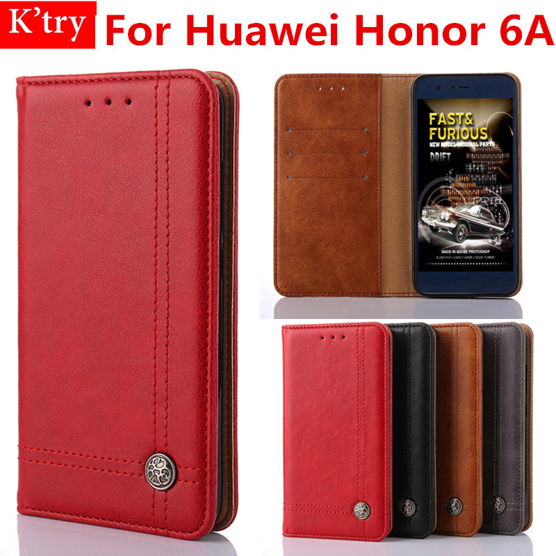 For Huawei Honor 6A Original Retro Line Leather Flip Wallet Cover Case For Huawei Honor 6A Stand Function Phone Conque