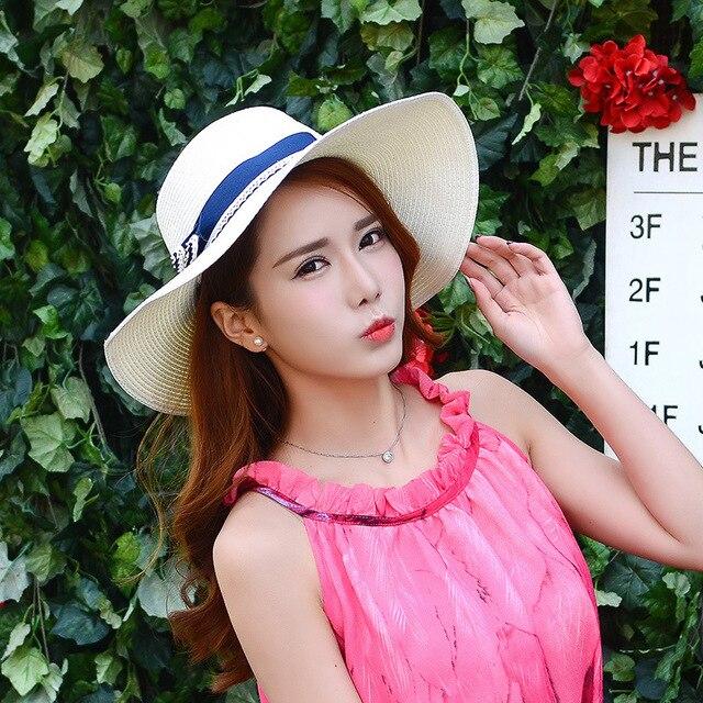 Women summer hat Large brimmed straw hat British bow beach hat