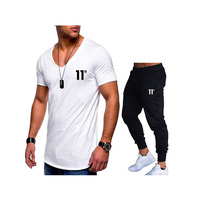 Men Summer Two Pieces Sets T Shirts+Pants Suit Men Cotton Tops Tees Fashion Tshirt High Quality Sportswears 2 Sets