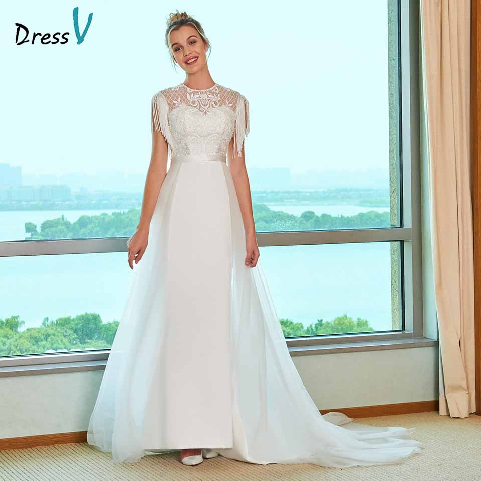 Dressv scoop neck abito da sposa button una linea di pizzo nappa beding ricamo di lunghezza del pavimento da sposa outdoor & chiesa abiti da sposa