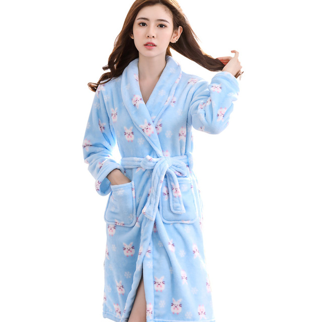 9660cf6cd4 Free Shipping Ladies Long Bathrobe Women Flannel Robe Long design Flannel  Bathrobe Female Robe Nightgown Coral