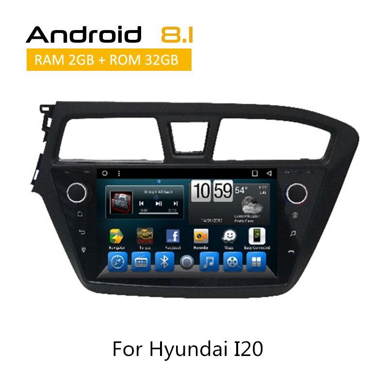 В тире Cam для hyundai I20 Android 8,1 автомобильный gps навигации плеер Авто Радио стерео с заднего вида камера AUX bluetooth TPMS SWC