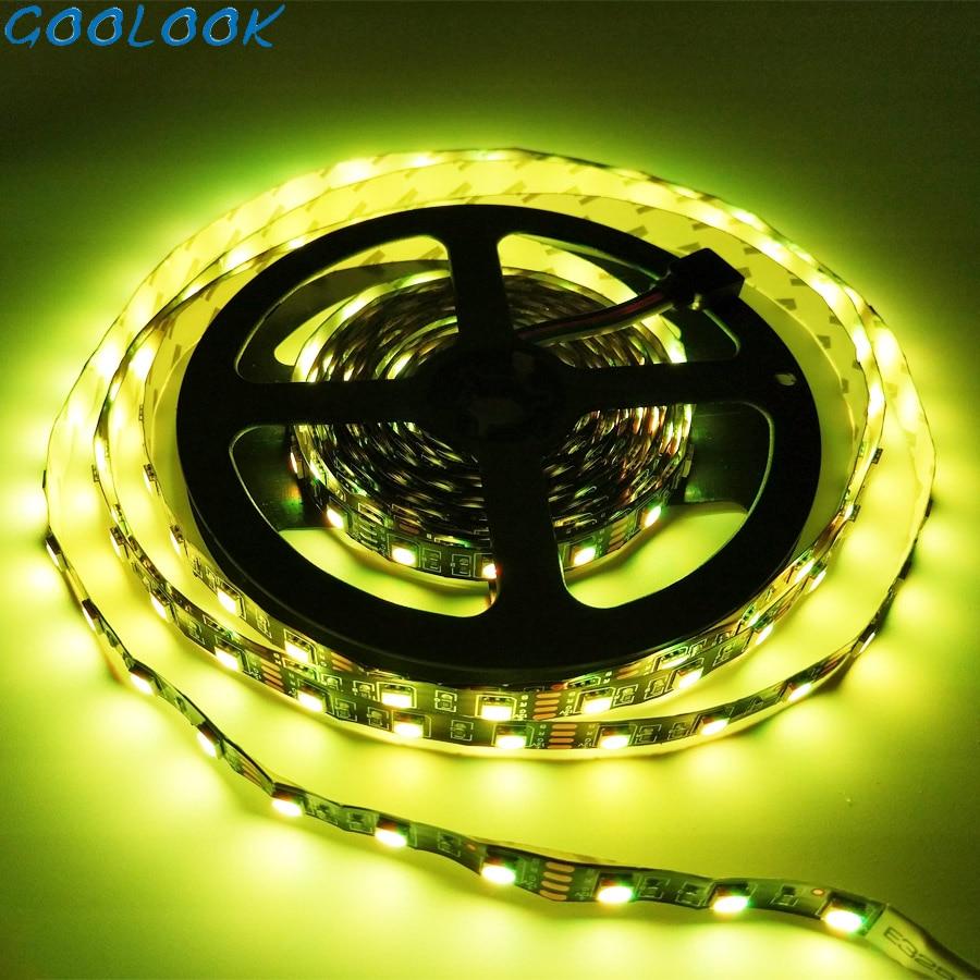 Black PCB SMD 5050 Ribbon Led Strip RGB Non Waterproof Tira Led Strips Light Diode Tape DC 12v Neon Lights