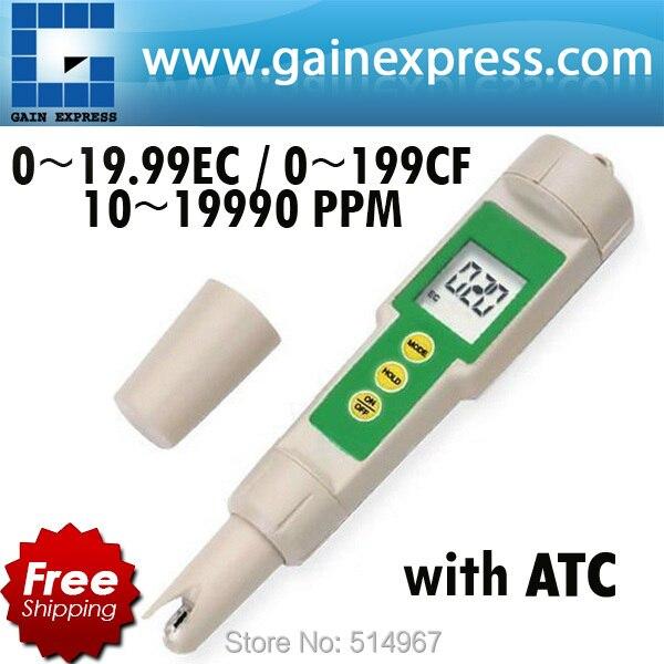 Portable Digital Pen type Waterproof 3 in 1 EC CF TDS Conductivity Hydroponic Meter Tester 19990 ppm Built-in ATC  цены