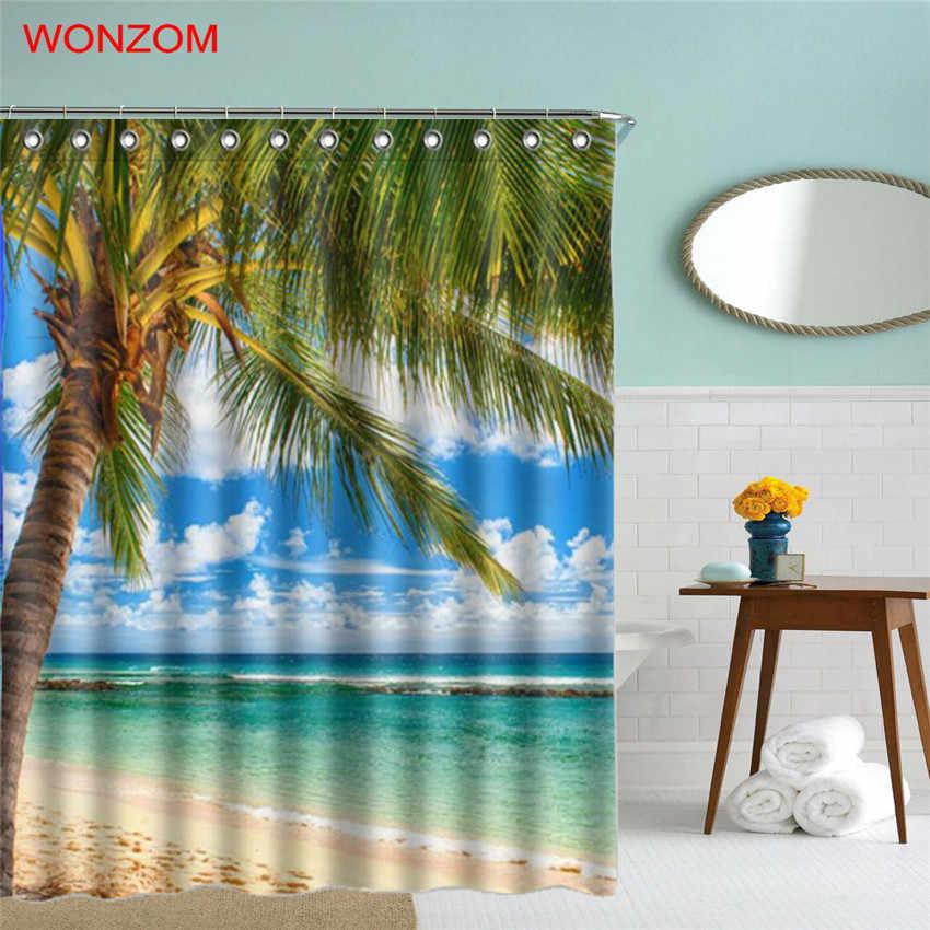 Wonzom الشاطئ السماء المشهد شجرة الستار مع 12 خطاطيف للحمام ديكور الحديثة حمام ماء ستارة الحمام