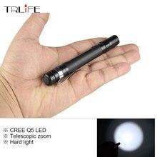 Mini Telescopic Zoom CREE Q5 3000LM LED Flashlight Torch Pocket Light Waterproof Lantern AAA Battery Powerful for Hunting