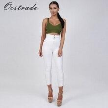 Ocstrade Women Pants Summer 2017 New Fashion White Bandage Pants Leggings with Zipper