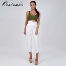Ocstrade Women Pants Summer 2017 New Fashion White Bandage Pants Leggings with Zipper