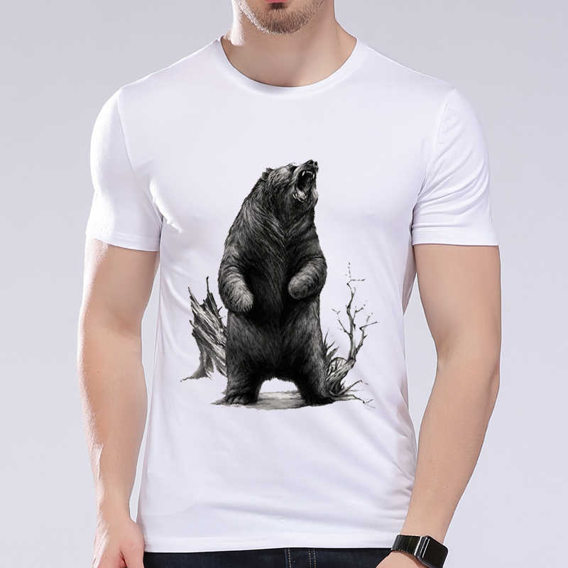 Roaring bear Men T-shirt summer print casual male top tees good quality short sleeve men fitness clothing funny men's Tees L6C58