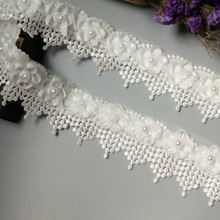 1 Yard White Pearl Tassel Plum Flowers Lace Edge Trimmings Ribbons Beaded Fabric Embroidered Sewing Wedding Dress DIY