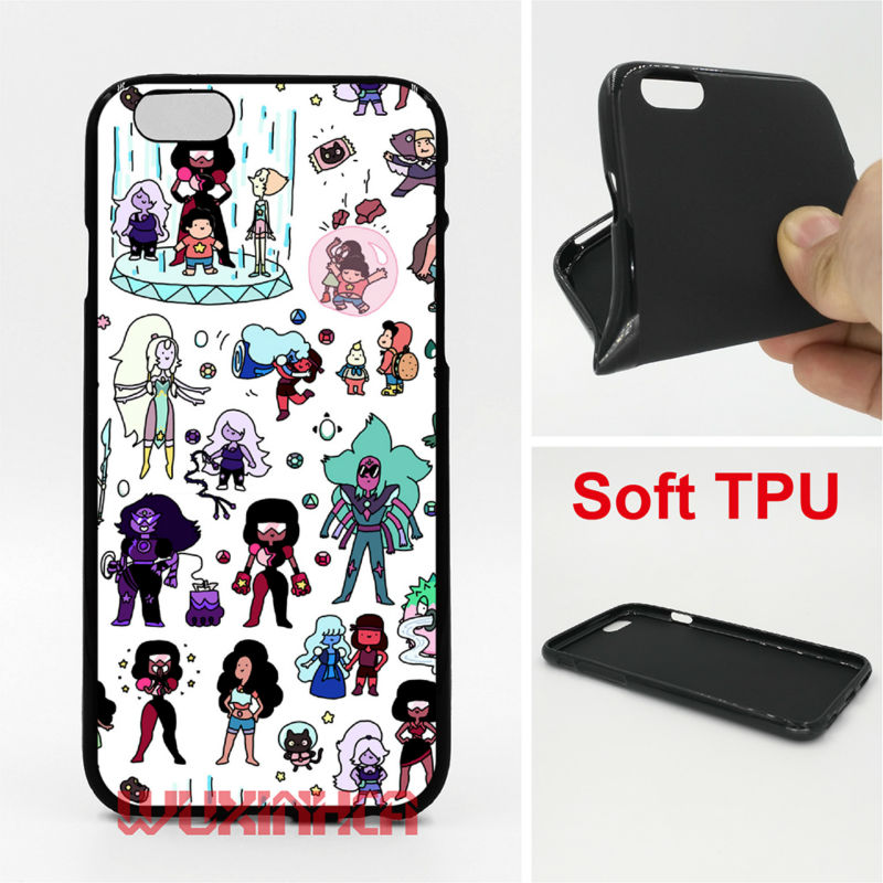 Cute Steven Universe Doodl Phone Case Soft TPU For iPhone 6 7 Plus SE 5S 4S Touch 6 For Samsung