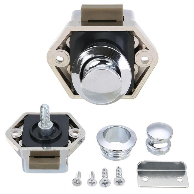 High Quality Mini Push Button Drawer Lock Mayitr Caravan Motorhome Lock  Cupboard Door Catch Lock Hardware Tools