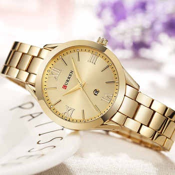 CURREN Women's Luxury Rose Gold Calendar Date Display Ladies Quartz Watches 4