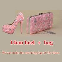 Shoes Pink Color Pearls New Fashion Rhinestone Pumps Shoes Women Sweet Luxury Platform Wedges Shoes Wedding Heel 14cm High Heels