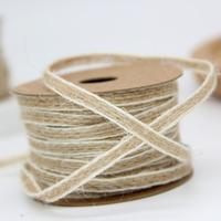 100 Meters 5mm Liene Rope Ribbon Natural Burlap Hessian Jute Cords Christmas Home Decoration Ribbon DIY Craft Supplies