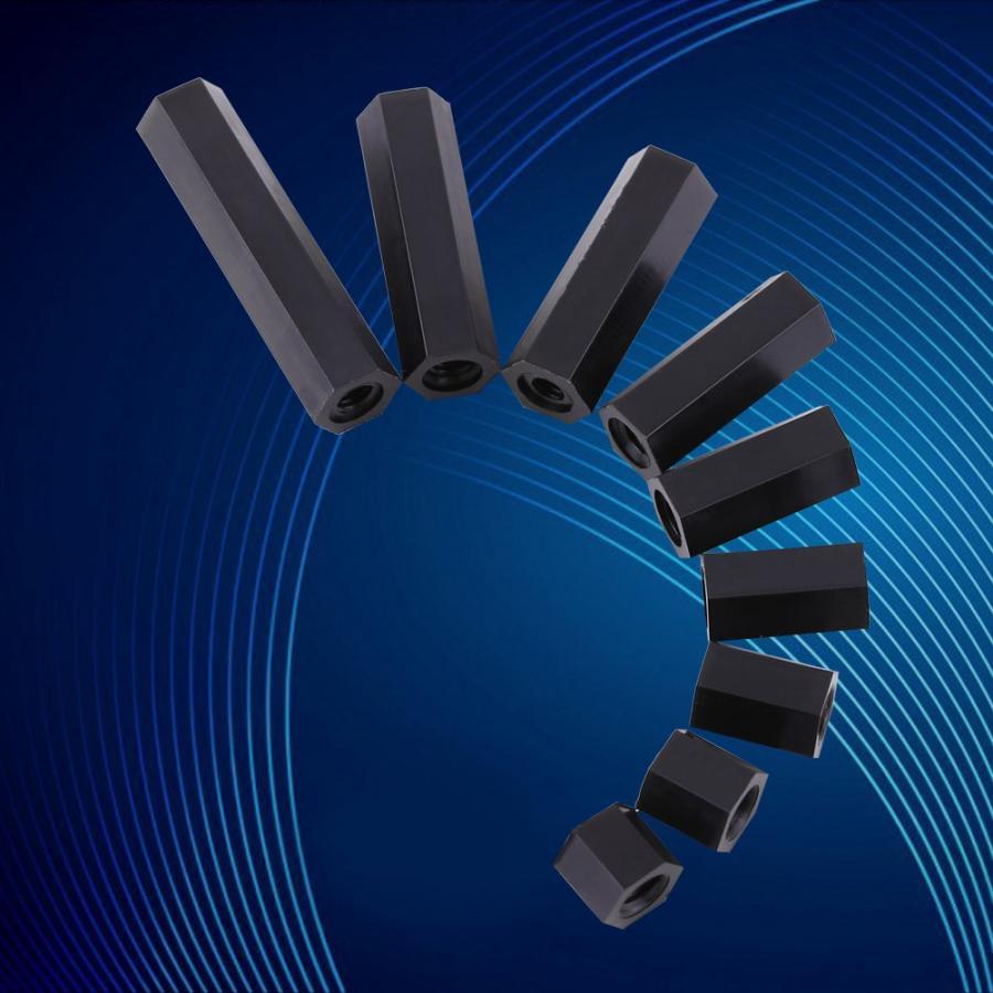 100Pcs/set Black Nylon M3 Female Hex Threaded Spacer Standoff Hex Column For PCB Motherboard Fixed Plastic Spacing Screws Set