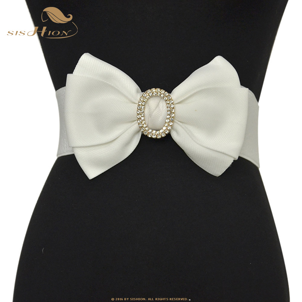 SISHION Elastic Belt Dress Accessories SP0241 Women's White Red Black Wide Waist Rhinestone Inlay Belt Large Bow