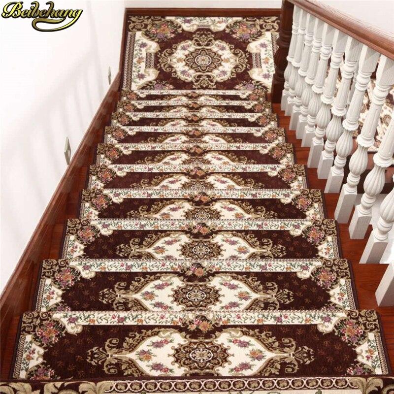 beibehang European stair mat glue-free self-adhesive solid wood non-slip mats corridor carpet step mat Home Decoration