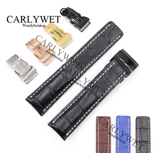 CARLYWET 22 24mm Black Brown Blue  Replacement Real Cowhide Leather Wrist Watch Band Strap For Super Ocean Driver