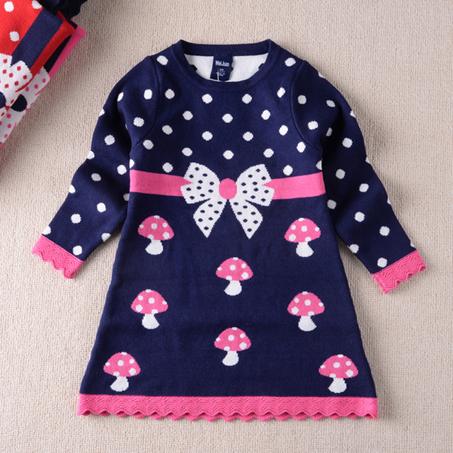 2016 Autumn Baby Girls Fashion Cardigans Girls O-neck Sweaters Kids Outerwear Coat Girls Dress-style Sweater