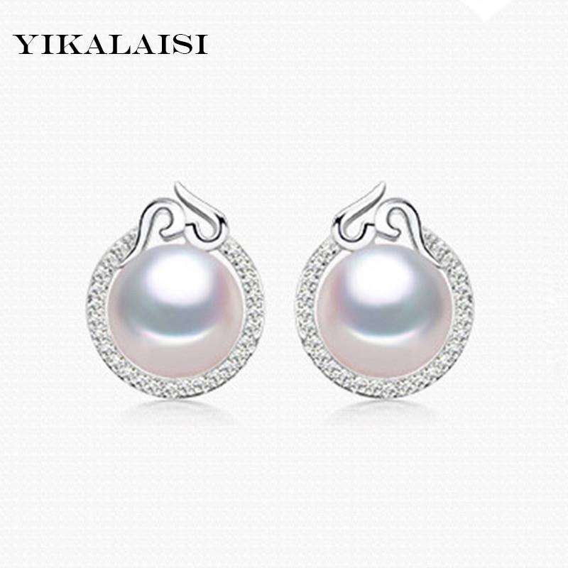 YIKALAISI 2017 100% naturel d'eau douce 10-11mm ronde perle bijoux 925 en argent Sterling boucles d'oreilles pour les femmes filles meilleur cadeau
