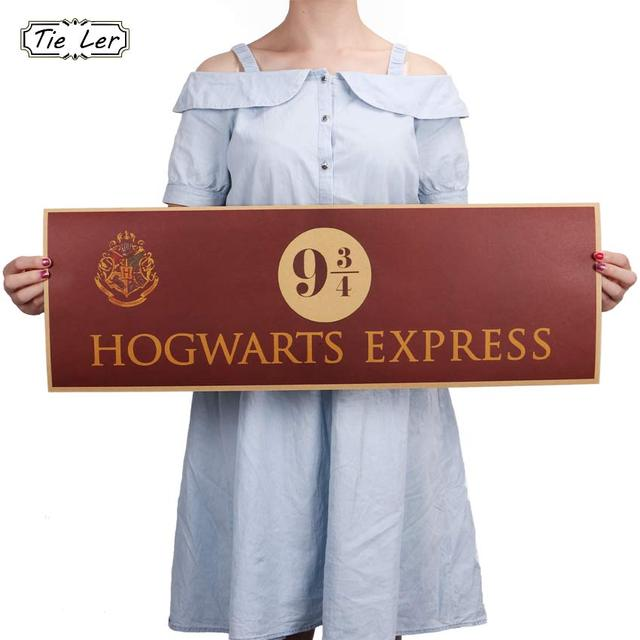 2019 TIE LER 9 3/4 (nine and three quarters) Platform Harry Potter Movie Vintage Paper Decoration Poster Wall Stickers 72x24cm