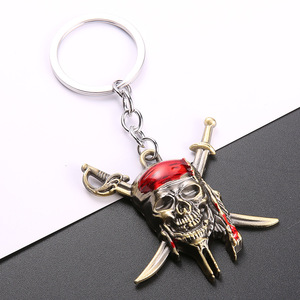 Hot-sell Alloy Keychain Skull Shape Pirates Of The Classic Cool Key Ring Fashion Trendy Charm Key Chains For Car Door(China)
