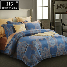 Bedding Set Yarn Dyed Jacquard Champagne Rusty Red Sky Blue 100 Percent Egyptian cotton Sheets Duvet Cover Pillowcase Palace