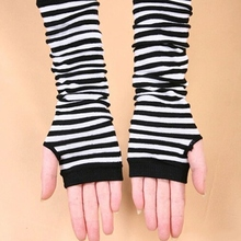 Women Knit Long Arm Warmers Sleeves Winter Fingerless Gloves Striped Gloves