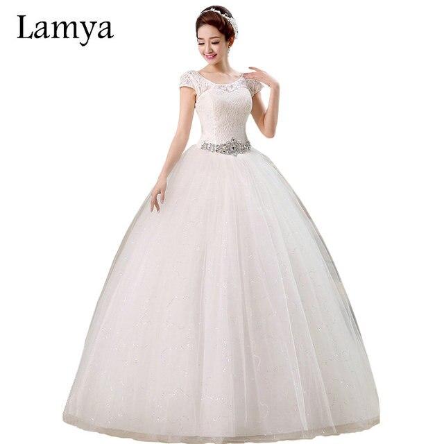 LAMYA Customized Lace With Crystal Sashes Wedding Dress 2018 Cheap ...