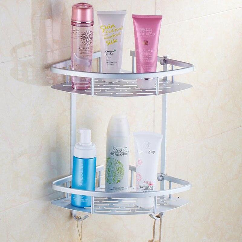 Comprar Aluminio Accesorios dos capas de baño estante montado en la pared lavadora ducha Basket bar Estantes esquina almacenamiento 800916 de shelves corner fiable proveedores en MYPOAYHODO Store