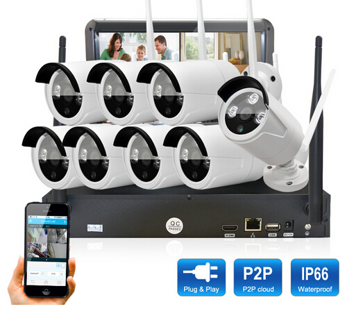 Plug&Play 8CH 10.1'LCD Screen Wireless NVR Security CCTV System&720P HD WIFI Camera Home+Outdoor IR Video Surveillance Kit plug and play 8ch wireless nvr h 264 video surveillance kit 720p hd outdoor vandal proof ir dome wifi cctv camera system 2tb hdd